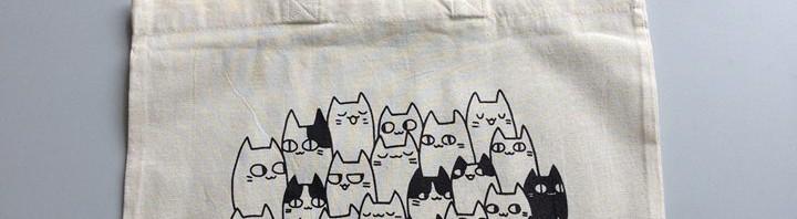 Jutebeutel mit Katzensalat bedruckt